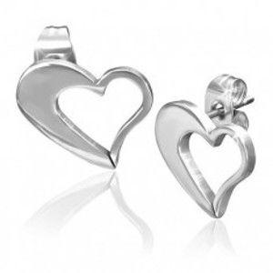 Šperky eshop - Náušnice z ocele 316L, asymetrický obrys srdca v striebornom odtieni V15.15