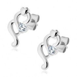 Šperky eshop - Náušnice z ocele 316L, dve špirálky, malé srdiečko a číry zirkón Z44.11