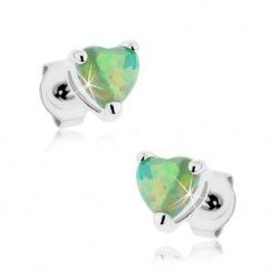 Šperky eshop - Náušnice z ocele 316L, syntetické opálové srdiečka zelenej farby S55.29