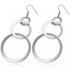 Šperky eshop - Náušnice z ocele 316L tri lesklé zväčšujúce sa kruhy, háčiky G23.13
