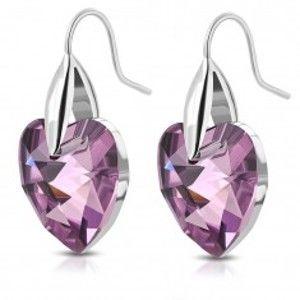 Šperky eshop - Náušnice z ocele 316L v striebornom odtieni, fialové zirkónové srdcia, háčiky AA19.10