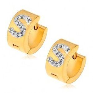 Šperky eshop - Náušnice z ocele 316L zlatej farby, biele písmeno S zdobené čírymi zirkónikmi S03.01