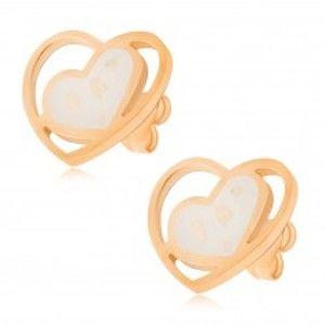 Šperky eshop - Náušnice z ocele, biele perleťové srdce v kontúre srdca S54.01