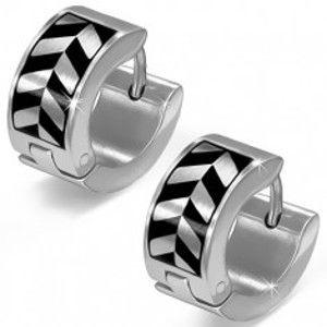Šperky eshop - Náušnice z ocele, okrúhle, šikmé protistojné dvojfarebné línie AC16.12