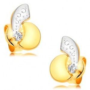 Šperky eshop - Náušnice zo 14K zlata - asymetrické dvojfarebné oblúčiky a ligotavý číry diamant BT177.13