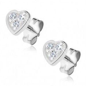 Šperky eshop - Náušnice zo striebra 925 - gravírované srdce so zirkónmi Y45.3