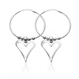 Šperky eshop - Náušnice zo striebra 925 - kruhy s guličkami a asymetrickým srdiečkom O7.11