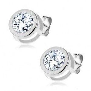 Šperky eshop - Náušnice zo striebra 925 - okrúhly číry zirkón v dvojitom rámčeku Y46.5