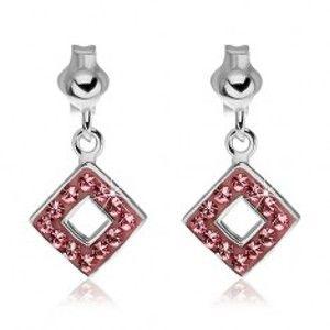 Šperky eshop - Náušnice zo striebra 925 - ružové štvorce so zirkónmi U4.20