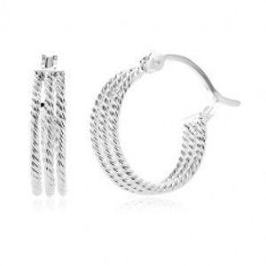 Šperky eshop - Náušnice zo striebra 925 - tri vrúbkované obruče, 15 mm SP84.05
