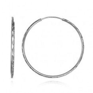 Šperky eshop - Náušnice zo striebra 925 - úzke kruhy s priehlbinkami, 47 mm A6.13