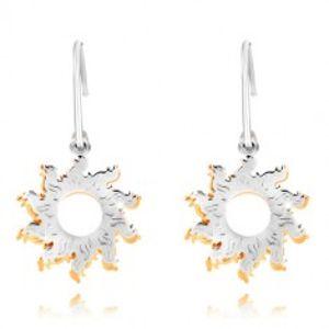 Šperky eshop - Náušnice zo striebra 925 - úzky polkruh, dvojfarebné slnká a guľôčky R11.06