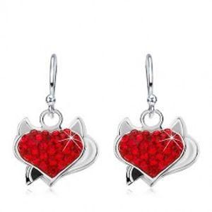 Šperky eshop - Náušnice zo striebra 925, červené zirkónové srdce s rožkami a čiernym chvostom AC22.21