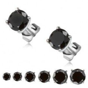 Šperky eshop - Náušnice zo striebra 925, čierny okrúhly kamienok v kotlíku S51.09/13/18/21/23 - Veľkosť zirkónu: 8 mm