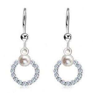 Šperky eshop - Náušnice zo striebra 925, číra zirkónová obruč s bielou perlou SP03.09