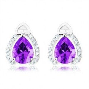 Šperky eshop - Náušnice zo striebra 925, fialový slzičkový zirkón, trblietavé línie, obrys srdiečka SP19.06