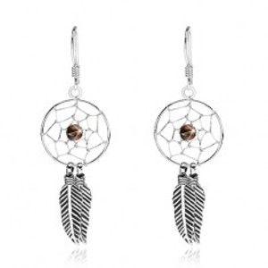 Šperky eshop - Náušnice zo striebra 925, lapač snov s čiernou korálkou a pierkami, 15 mm I28.25