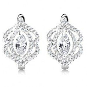 Šperky eshop - Náušnice zo striebra 925, ligotavý číry zrnkový zirkón, dvojitá obruba AA25.06