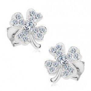 Šperky eshop - Náušnice zo striebra 925, ligotavý štvorlístok pre šťastie s čírymi zirkónmi G23.29