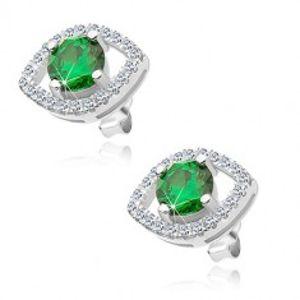 Šperky eshop - Náušnice zo striebra 925, okrúhly zelený zirkón v obryse zrnka, ródiované S10.31