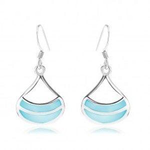 Šperky eshop - Náušnice zo striebra 925, ródiované, široký obrys kvapky, modrá perleť SP90.05