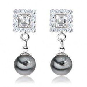 Šperky eshop - Náušnice zo striebra 925, štvorec zdobený sivými krištáľmi, sivá perla I39.30