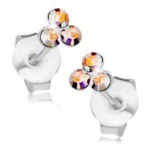 Šperky eshop - Náušnice zo striebra 925, trojica Swarovski krištálikov s dúhovým odleskom I37.01