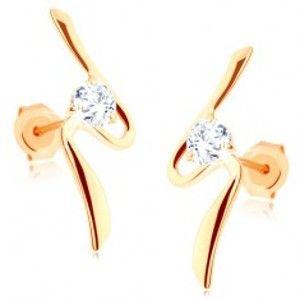 Šperky eshop - Náušnice zo zlata 375 - asymetrická vlnka, okrúhly číry zirkón, puzetky GG66.05