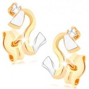 Šperky eshop - Náušnice zo zlata 375 - zvlnená dvojfarebná línia, zirkónik čírej farby GG78.02