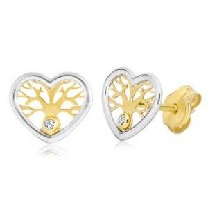Šperky eshop - Náušnice zo zlata 585 - dvojfarebné srdce so stromom života a zirkónom GG20.11