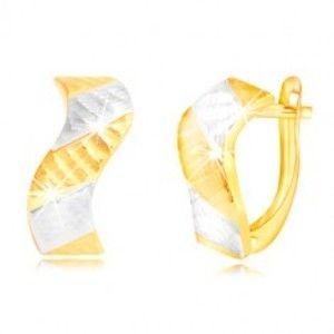 Šperky eshop - Náušnice zo zlata 585 - ligotavá vlnka so zárezmi a dvojfarebnými pásmi GG218.30