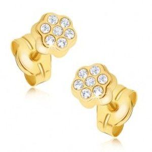 Šperky eshop - Náušnice zo žltého 14K zlata - drobný zirkónový kvietok GG18.02