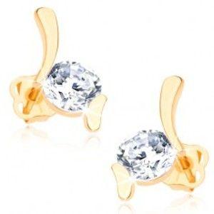 Šperky eshop - Náušnice zo žltého 14K zlata - dva lesklé oblúčiky, okrúhly číry zirkón GG107.29