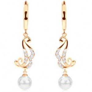 Šperky eshop - Náušnice zo žltého 14K zlata - krúžok s visiacim ornamentom a bielou perlou GG93.14