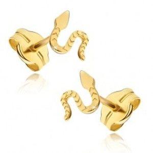 Šperky eshop - Náušnice zo žltého 14K zlata - lesklý plaziaci sa had, ryhovaný povrch GG17.05