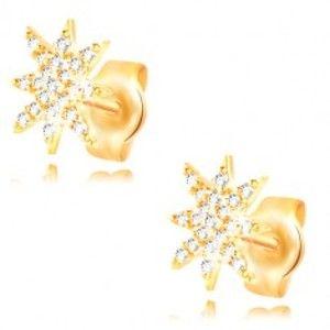 Šperky eshop - Náušnice zo žltého 14K zlata - ligotavá hviezdička zdobená čírymi zirkónmi GG210.56