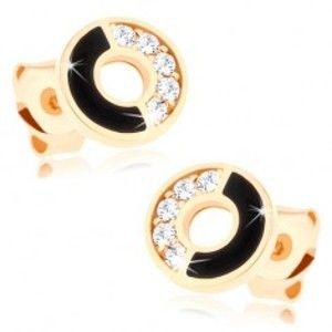 Šperky eshop - Náušnice zo žltého 14K zlata - obruč s čiernou a zirkónovou polovicou GG87.06