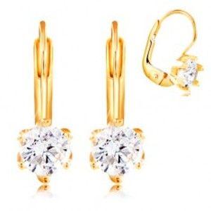 Šperky eshop - Náušnice zo žltého 14K zlata - okrúhly číry zirkón v šesťcípom kotlíku, 4,5 mm GG209.42