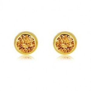 Šperky eshop - Náušnice zo žltého 14K zlata - prírodný citrín v objímke, puzetky GG38.21