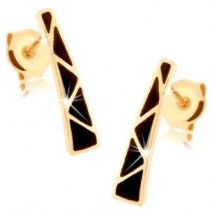 Šperky eshop - Náušnice zo žltého 14K zlata - rozširujúci sa pásik, trojuholníčky z čiernej glazúry GG87.33