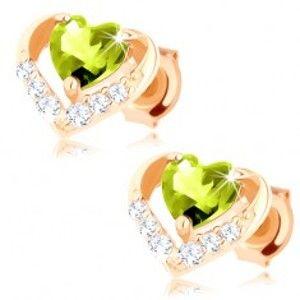 Šperky eshop - Náušnice zo žltého 14K zlata - zelené olivínové srdiečko v ligotavej kontúre GG89.25