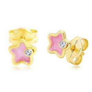 Šperky eshop - Náušnice zo žltého 14K zlata, kvietok s ružovou glazúrou a zirkónom GG20.16