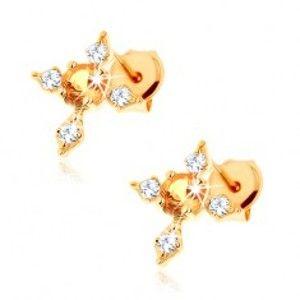 Šperky eshop - Náušnice zo žltého 9K zlata - kríž s čírymi zirkónovými ramenami, žltý citrín GG62.24