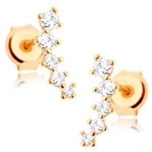Šperky eshop - Náušnice zo žltého 9K zlata - trblietavý oblúčik z čírych zirkónov, puzetky GG67.13