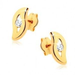 Šperky eshop - Náušnice zo žltého 9K zlata - zvlnená línia s čírym kamienkom uprostred GG40.09