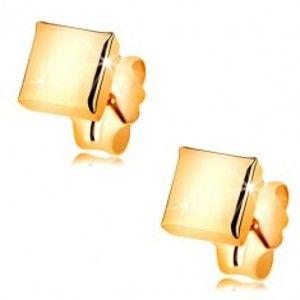 Šperky eshop - Náušnice zo žltého zlata 375 - zrkadlovolesklý štvorček, puzetky GG55.20