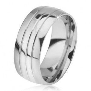 Šperky eshop - Oblý oceľový prsteň, lesklý povrch, tri ryhy BB08.18 - Veľkosť: 65 mm