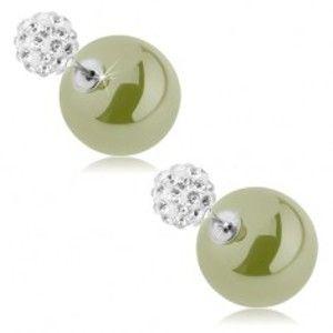 Šperky eshop - Obojstranné náušnice, guličky - zirkónová a hladká, pistáciovozelená farba O1.14