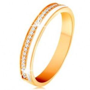Šperky eshop - Obrúčka v žltom 14K zlate - úzke línie z čírych zirkónikov a bielej glazúry GG132.07/22/26 - Veľkosť: 54 mm