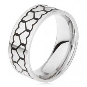 Šperky eshop - Obrúčka z ocele 316L, dve línie obrysov sŕdc BB18.03 - Veľkosť: 67 mm